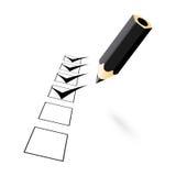 Black pencil with drawn ticks Stock Photos
