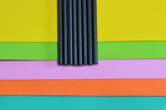 Black pencil on color foam rubber board overlay Royalty Free Stock Image