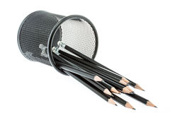 Black pencil holder with pencils isolated Royalty Free Stock Photography