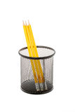 Black pencil holder with pencils isolated on white Royalty Free Stock Images