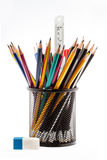 Black pencil holder with pencils isolated on white Stock Image