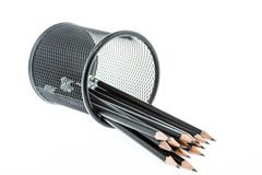 Black pencil holder with pencils  on white Royalty Free Stock Photos