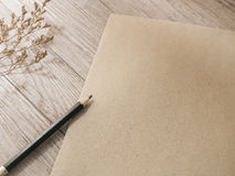 Black pencil on natural brown paper Royalty Free Stock Photo