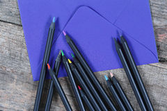Black pencils close-up view stock photography