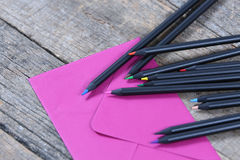 Black pencils close-up view royalty free stock photography