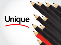 Black pencils and red pencil in arrange Royalty Free Stock Image