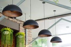 Black pendant lamps Royalty Free Stock Photo