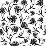 Black peony flowers pattern on white background. Vector illustration. vector illustration