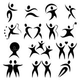Black people in actionb. Silhouette illustration of people in action Stock Photos