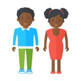 Black people adolescents. Flat vector cartoon illustration. Objects isolated on a white background vector illustration