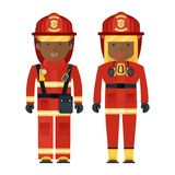 Black people fireman. Vector african american Professions fire man and fire woman. Black people. Flat vector cartoon illustration. Objects isolated on a white stock illustration