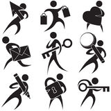 Black People Icons. Set of 9 icons of assorted activities Stock Photography
