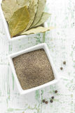 Black pepper and bay leaf Stock Photography