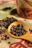 Black pepper and bay leaf Royalty Free Stock Photos