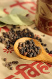 Black pepper and bay leaf Stock Photos