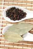 Black pepper and bay leaf Stock Photo