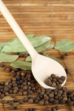 Black pepper and bay leaves Royalty Free Stock Image