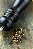 Black pepper and black pepper-mill Royalty Free Stock Image