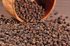 Black pepper in a bowl Stock Photography
