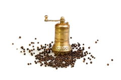 Black pepper and brass mill Stock Images