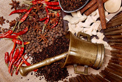 Black pepper in a bucket and  bay leaf Stock Photo