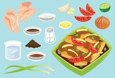 Black Pepper Chicken Ingredients Vector Illustration. For many purpose such as cooking book, house and restaurant or cafe decoration, postcard, print on purse Vector Illustration