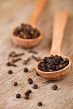 Black pepper and cloves in wooden spoons Royalty Free Stock Photo