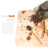 Black pepper on cutting board Royalty Free Stock Photo