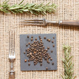 Black pepper on dark plates with rosemary and antique fork. Black peppercorns on dark plate with rosemary and antique fork. Rustic background. Warm color. Square Stock Photos