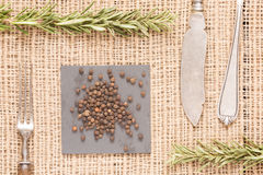 Black pepper on dark plates with rosemary, antique forks, spoon. Black peppercorns on dark plate with rosemary, antique forks, spoon and knife. Rustic background Stock Photos