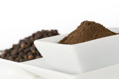 Black pepper grain and powder Royalty Free Stock Image
