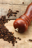 Black pepper grainS and pepper grinder Stock Photo