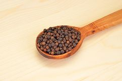 Black pepper granules in wooden spoon Stock Image