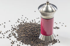 Black pepper and  grinder. A pile of black pepper and a spice grinder Royalty Free Stock Photos