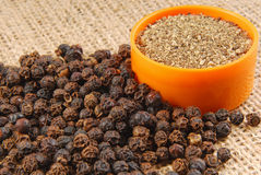 Black pepper on hessian Royalty Free Stock Photo
