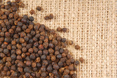Black pepper on hessian Royalty Free Stock Photos