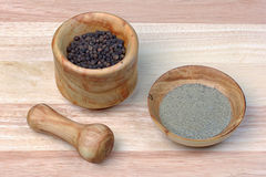 Black pepper in a mortar Stock Photo