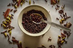 Black pepper with other Indian spices. Black pepper levitating on a spoon on top of a bowl of black plate full of black pepper, with a plenty of indian spices royalty free stock photo