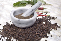 Black pepper and other spice Stock Image