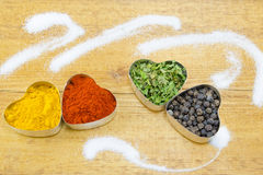 Black pepper, paprika, curry and basil Royalty Free Stock Photography