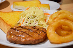 Black Pepper Pork Steak, Delicious Menu. With fried onion, baked bread Royalty Free Stock Images