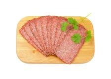 Black pepper salami slices Royalty Free Stock Image