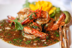 Black Pepper Shrimp. Shrimp stir fried with black pepper for Thai food royalty free stock photo