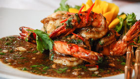 Black Pepper Shrimp. Shrimp stir fried with black pepper for Thai food stock photos