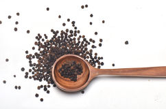 Black pepper spices in wooden spoon Stock Images