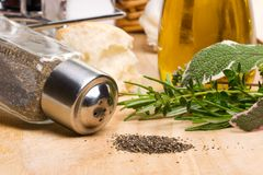 Black pepper and spicy herbs Royalty Free Stock Image
