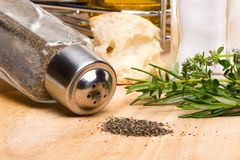 Black pepper and spicy herbs Stock Image