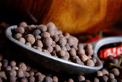 Black pepper in a spoon Stock Images