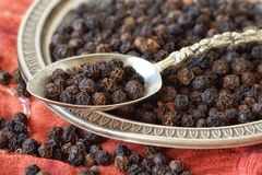 Black pepper on spoon and plate. Macro Stock Photography