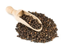 Black pepper in a spoon Royalty Free Stock Image